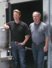 Figueroa Mountain Brewing Company's Jaime Dietenhofer, left, with his father