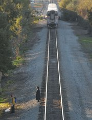 The Union Pacific passenger train came to a stop around 1/3 of a mile down the tracks where the victim was hit