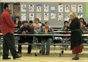 Parents' Night and potluck dinner at the Isla Vista School with Principal Lisa Maglione and volunteer Felipe Garcia.
