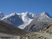 Crevasses of a steep glacier in the Sutlej Valley of the Western Himalaya. This glacier has a debris-covered toe.