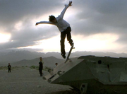 Skateboarding pro Kenny Reed making better use of an abandoned tank