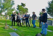 "Josh Shimmin's ""skeleton crew"" shoots at the Santa Barbara Cemetery."