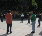 AFSCME Local 3299 vice president Julian Posadas requests enlightenment from UCSB Associate Vice Chancellor Ron Cortez