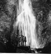 A group of young women enjoy Nojoqui Falls, ca. 1938.