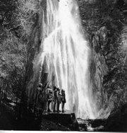 A group of young women enjoy Nojoqui Falls, ca. 1938.
