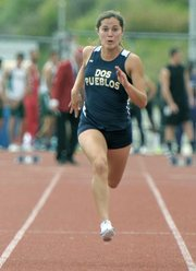 Dos Pueblos' multi-sport athlete Jessica Escalante was a double winner in the 100- and 200-meter sprints in the Chargers' most recent dual meet.