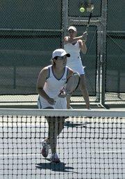 Jordan Dockendorf  and Natalia Lozano slam and volley for UCSB's women's tennis team.