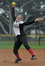 """SBCC pitcher Kailey Snyder earned the nickname """"Hurricane"""" for her wicked fastballs."""