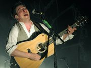 Mumford & Sons frontman Marcus Mumford sings his heart out to a rapt audience at the Bowl last Monday.