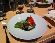 Chef Casey Walcott's Cayucos abalone ceviche with Meyer lemon marinade and black-bean relish.