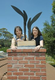 James Van Arsdale and Kimberly Hahn on their roof with Florian Morlat's tribute to the Dovers.