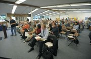 Crowd at the Goleta Water District rate increase meeting. June 1, 2001.