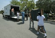 UCSB donated trucks to help move belongings from apartments to the Embarcadero Hall parking lot for the annual GIVE sale.
