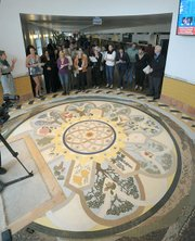 "The North entrance of the remodeled Santa Barbara Airport features a mosaic floor design titled ""Santa Barbara 360°""  by artist  Lori Ann David June 17, 2011"