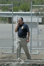 Santa Barbara Police Chief Cam Sanchez arrives to the dig