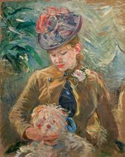 """""""Young Girl with a Dog"""" (""""Jeune fille au chien""""), by Berthe Morisot (ca. 1887), at SBMA."""