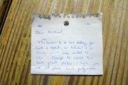 Jody's note to Michael