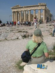 Sue De Lapa regards the Parthenon