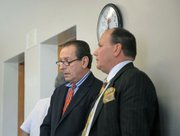 Freelance journalist Peter Lance and his attorney Darryl Genis at the Jonathan Batalas DUI hearing June 27, 2011