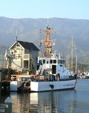 Coast Guard Cutter Blackfin in Santa Barbara Harbor not long after it unloaded 15 suspected illegal aliens