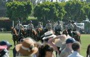 Santa Barbara County Sheriff's deputies on horseback during Prince William and Kate Middleton's visit to the Santa Barbara Polo & Raquet Club July 9, 2011