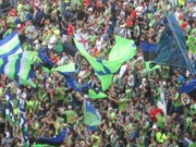 Chanting and flag-waving Sounders fans filled the in the south end of CenturyLink Field.