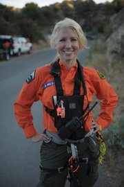 "<strong>SEARCHING WITH A SMILE:</strong>  Self-described city girl Valerie Walston jumped into Santa Barbara County's Search & Rescue squad after a harrowing experience up Rattlesnake Canyon. Now, she's responsible for finding lost hikers and other imperiled outdoors lovers throughout the region's more than 2,500 square miles of terrain. See <a href=""http://sbcsar.org"">sbcsar.org</a> for more info."