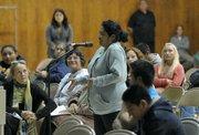 Concerned parent Martha Cruz speaks at a Pueblo sponsored forum discussing a gang injunction on Oct. 20, 2011
