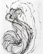 """Coil-Fourth"" (2011) is one of Marie Schoeff's drypoint prints from the show Traces."