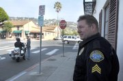Sgt. Mike McGrew and officers conduct a crosswalk enforcement sting on Milpas Street (February 2, 2012)