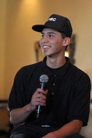 Josue Anguiano speaks to the Rotary Club during a <em>Drama Kings</em> presentation.