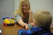 UCSB Koegel Autism Center clinician Jessica Bradshaw works with a client.