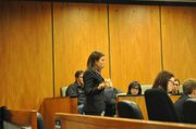 Lead defense attorney Cheryl Wilson delivers her closing argument in the semifinal round on Saturday