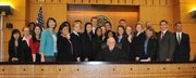The Dos Pueblos Mock Trial team  poses with U.S. District Court  Judge William Schubb who presided over the final round.