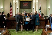 L to R: Assemblymembers Das Williams, 35th AD and Connie Conway, Republican Minority Leader; Woman of the Year honoree, Dr. Victoria Riskin; John A. Pérez, Speaker of the Assembly and Assemblymember Holly Mitchell.