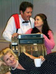CLOCKWISE FROM TOP: Sean O'Shea, Jean Hall, and Tiffany Story star in Circle Bar B's production of <em>Wally's Café</em>.