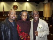 Babatunde Folayemi (right) at his swearing-in as a Santa Barbara City Council member, in 2002, with Akivah and their son, Cinque, now a filmmaker in New York.