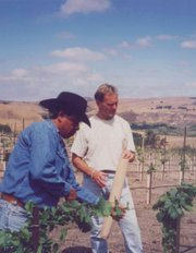 Richard Sanford and longtime employee Martin Hernandez (left) plant the La Rinconada Vineyard in 1995.