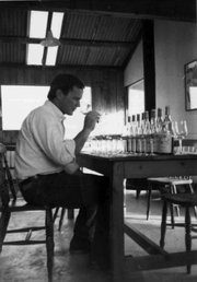 Richard Sanford tastes through his 1984 chardonnays a couple of years after bottling.