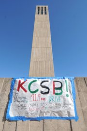 KCSB located under UCSB's Storke Tower.