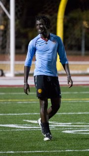 Davies Kabogoza plays at an April 3 scrimmage in his advanced soccer class at La Playa Stadium. The spring course is taught by the SBCC soccer team assistant coach Paul Hart. 
