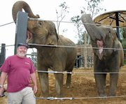 "The Brewhouse's Pete Johnson gets a ""two trunk salute"" from elephants Sujatha and Little Mac. The pachyderms selected the ingredients that Johnson will use to brew ""Big Ear Beer."""