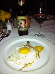 Pork Jowls en Croute and Over Easy Egg, with Coney Island American Blockhead
