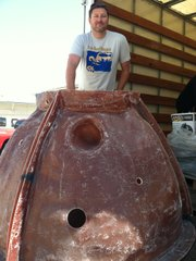 Goldblatt and reef ball, actual size.