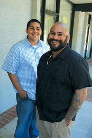 Student Steve Lazaro and Transitions founder Martin Leyva.