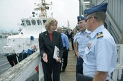 Lois Capps speaks to Coast Guard officials about panga boats