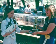 A young Kathryn Bowers accepts an award for her rabbit in 1979.