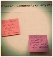 Post-It notes with differing views at the August 23 winery ordinance update hearing.