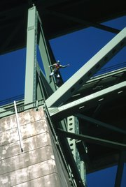 With only a couple of seconds of free fall to work with, Weber jumped 400-foot Foresthill Bridge in Auburn, California, for a TV show called <i>The Extremist</i>.