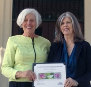 Pearl Chase Society President Sue Adams and board member Barbara Chen Lowenthal.